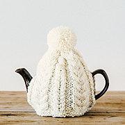 おばあさんの手編みのティーコージー 〈アイボリー〉